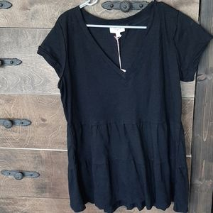 Umgee black cotton top, oversized small